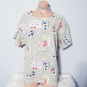 Vintage 80's 90's retro flower print top blouse